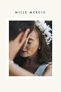 Carte de remerciement mariage corner (dorure) blanc cassé