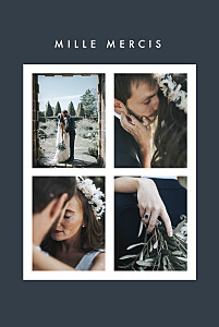 Carte de remerciement mariage bleu corner 4 photos (dorure) bleu