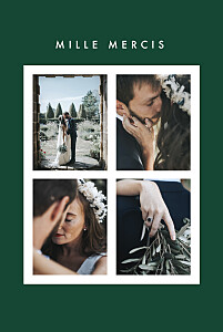 Carte de remerciement mariage vert corner 4 photos (dorure) vert