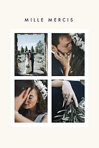 Carte de remerciement mariage bleu corner 4 photos (dorure) blanc cassé