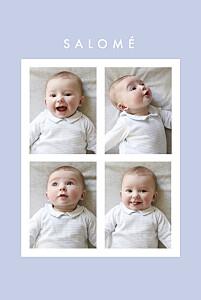 Faire-part de naissance mixte corner 4 photos (dorure) bleu