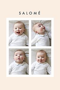 Faire-part de naissance beige corner (dorure) beige