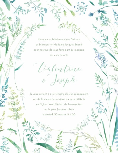 Faire-part de mariage Les hautes herbes portrait vert