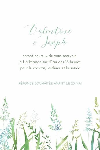 Carton d'invitation mariage Les hautes herbes portrait vert