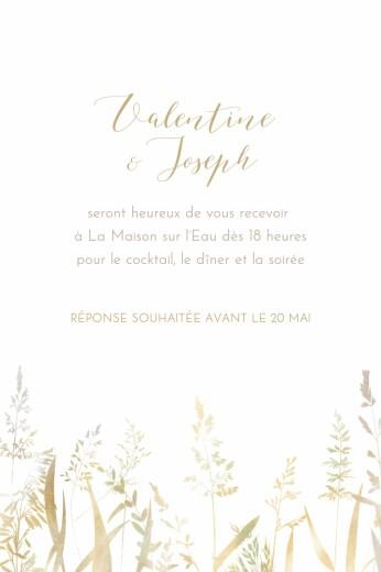 Carton d'invitation mariage Les hautes herbes portrait sable