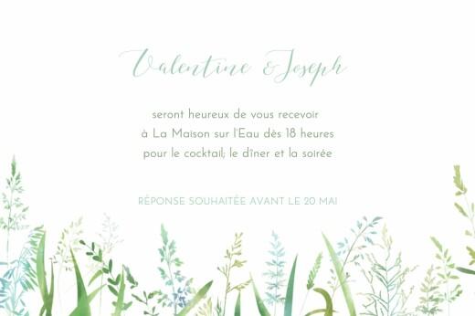 Carton d'invitation mariage Les hautes herbes vert