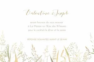 Carton d'invitation mariage original les hautes herbes sable