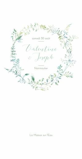 Menu de mariage Les hautes herbes 4 pages vert