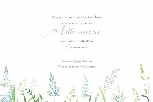 Carte de remerciement mariage Les hautes herbes vert - Page 2