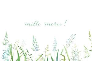 Carte de remerciement mariage vintage les hautes herbes vert