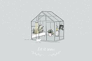 Carte de voeux design jardin d'hiver
