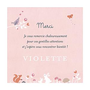 Carte de remerciement animaux petite forêt enchantée rose