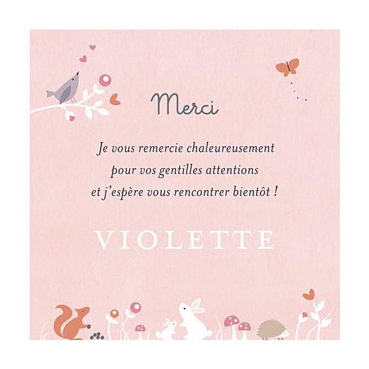 Carte de remerciement Petite forêt enchantée rose