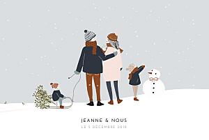 Faire-part de naissance beige winter family (3 enfants) 1