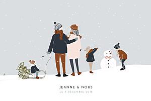 Faire-part de naissance beige winter family (4 enfants) 1