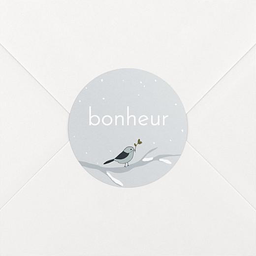 Stickers pour enveloppes naissance Winter family oiseau - Vue 2