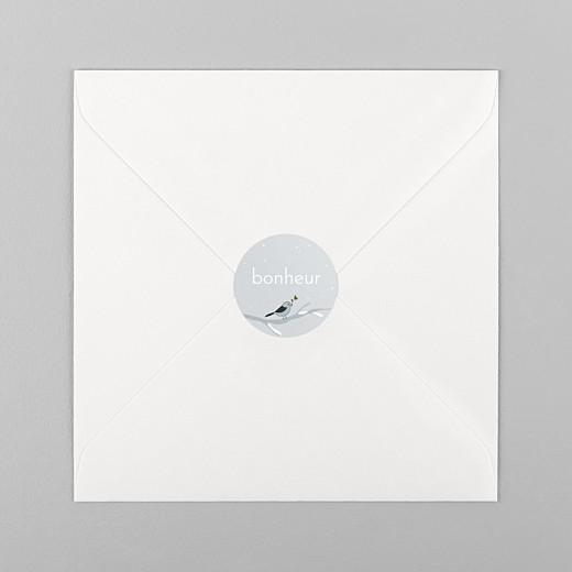 Stickers pour enveloppes naissance Winter family oiseau - Vue 1