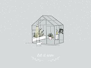 Affichette garçon jardin d'hiver gris