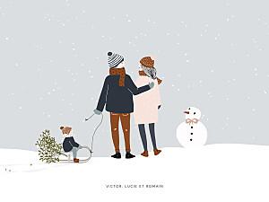Affichette beige winter family (1 enfant) 1