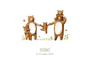Faire-part de naissance garçon 5 ours en famille blanc