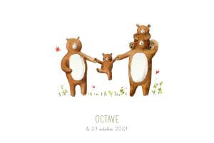 Faire-part de naissance 4 ours en famille blanc