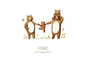 Faire-part de naissance fille 4 ours en famille blanc