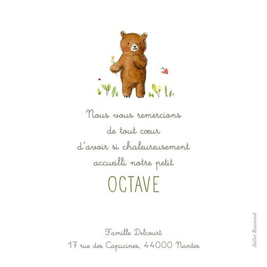 Carte de remerciement Merci ours en famille blanc - Page 2