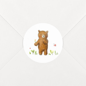 Stickers Naissance Ours en famille blanc