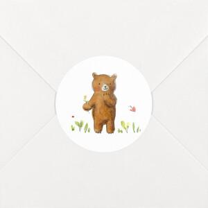 Stickers pour enveloppes naissance Ours en famille blanc
