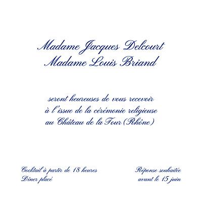Carton d'invitation mariage Élégant blanc finition