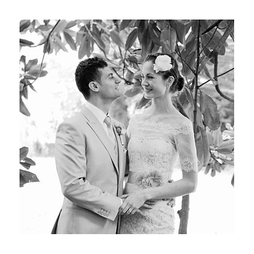 Carte de remerciement mariage Canopée 1 photo vert