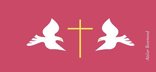 Etiquette perforée baptême Croix & colombes rose - Page 2