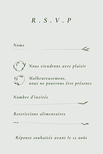 Carton réponse mariage Joli sous-bois portrait vert - Page 2