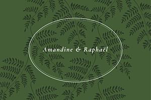 Carton réponse mariage classique joli sous-bois vert