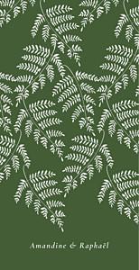 Menu de mariage classique joli sous-bois vert
