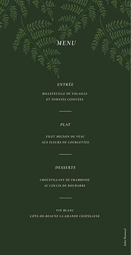 Menu de mariage Joli sous-bois vert - Page 2