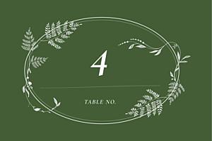 Marque-table mariage classique joli sous-bois vert