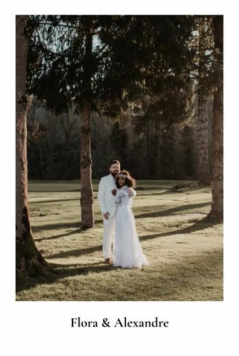 Carte de remerciement mariage Mélopée blanc
