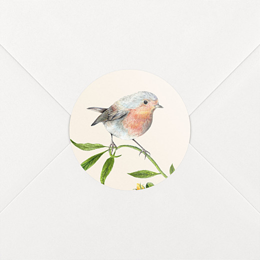 Stickers pour enveloppes mariage Mélopée rouge-gorge - Vue 2