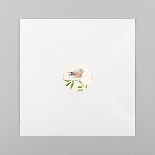 Stickers pour enveloppes mariage Mélopée rouge-gorge - Vue 1