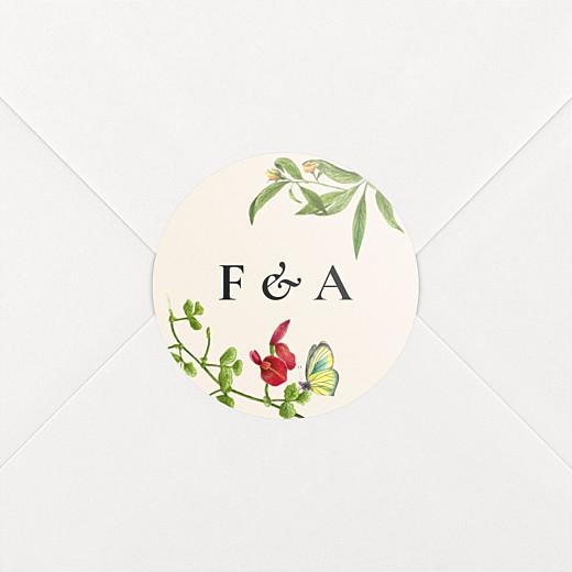 Stickers pour enveloppes mariage Mélopée beige - Vue 2