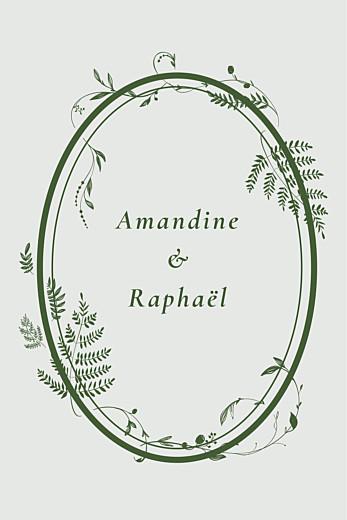 Carton d'invitation mariage Joli sous-bois (portrait) vert