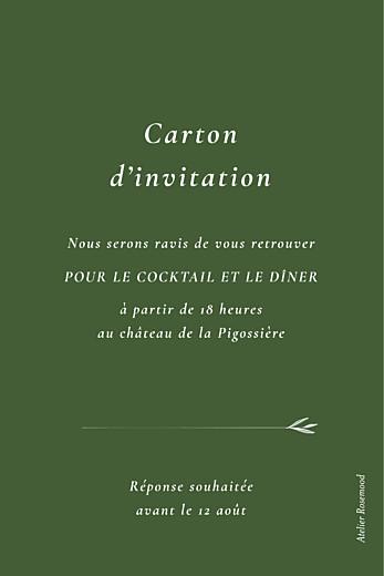 Carton d'invitation mariage Joli sous-bois (portrait) vert - Page 2