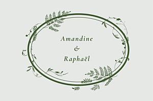 Carton d'invitation mariage traditionnel joli sous-bois vert