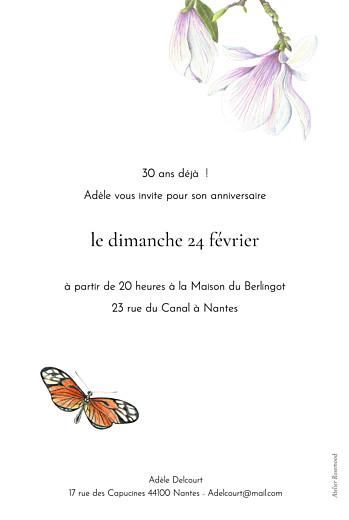 Carte d'invitation anniversaire adulte Mélopée blanc - Page 2