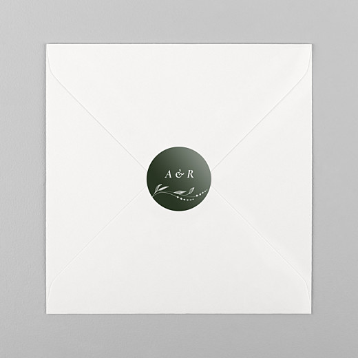 Stickers pour enveloppes mariage Joli sous-bois vert - Vue 1