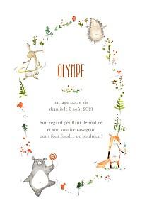 Faire-part de naissance automne-hiver la ronde des animaux blanc