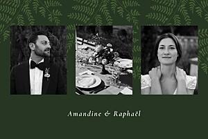 Carte de remerciement mariage vert joli sous-bois vert