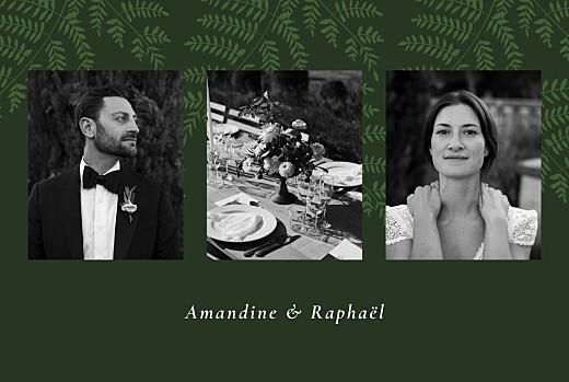 Carte de remerciement mariage Joli sous-bois vert