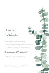 Faire-part de mariage Eucalyptus blanc